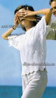 Летний пуловер для женщин связанный спицами