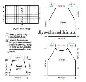 пуловер реглан схема вязания