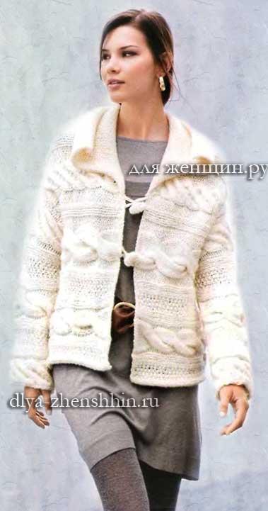 Белый вязаный жакет для женщин
