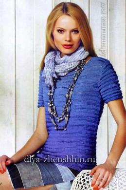Синий пуловер спицами для женщин