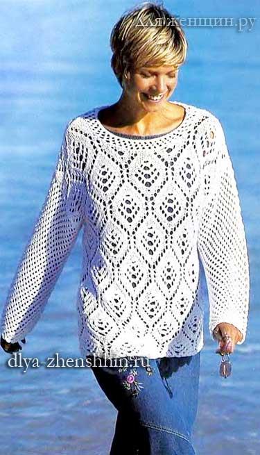 вязание спицами для лета ажурный пуловер для женщин