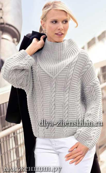 вязаный свитер спицами женский фото
