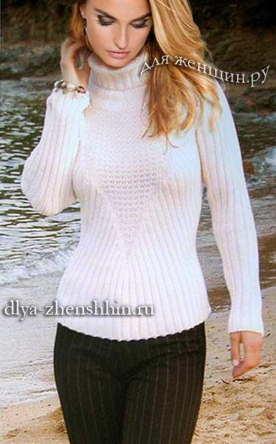 белый вязаный свитер для женщин описание и схемы вязания свитера