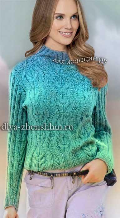 вязание спицами женского пуловера модные модели 2017 для женщин